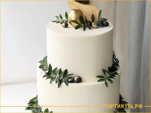 Большой многоярусный торт на свадьбу с грушей