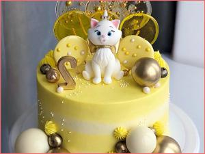 Желтый тортик ребенку 2 годика с котенком