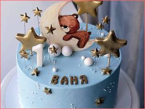 Тортик малышу на 1 годик с мишкой