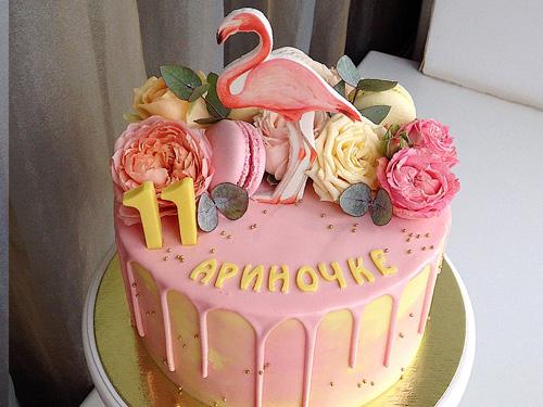 Торт розовый девочки на день рождение 11 лет