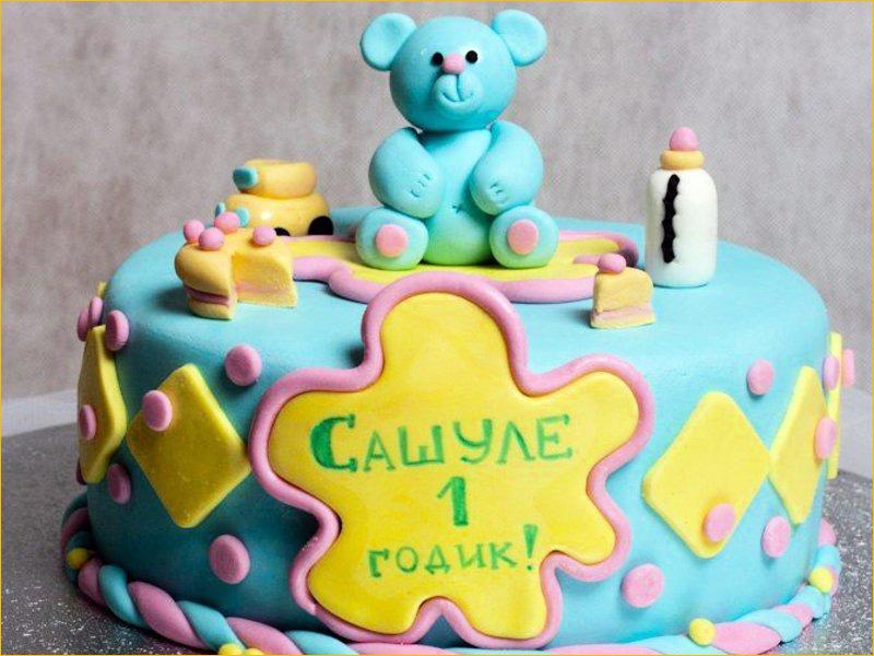 Торт с Медведем на день рождения 1 годик