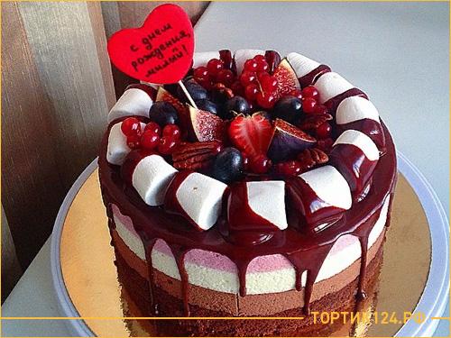 Муссовый торт с шоколадной глазурью и маршмеллоу для любимого