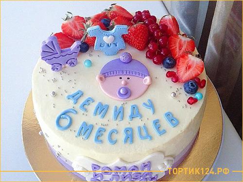 Детский бисквитный торт с фруктами на 6 месяце