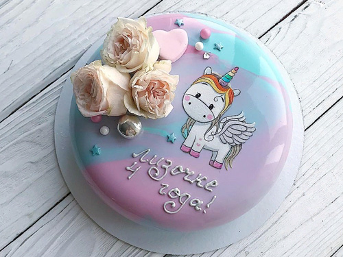Муссовый торт на день рождение девочки с пони