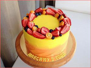 Детский торт на заказ ребенку с ягодами